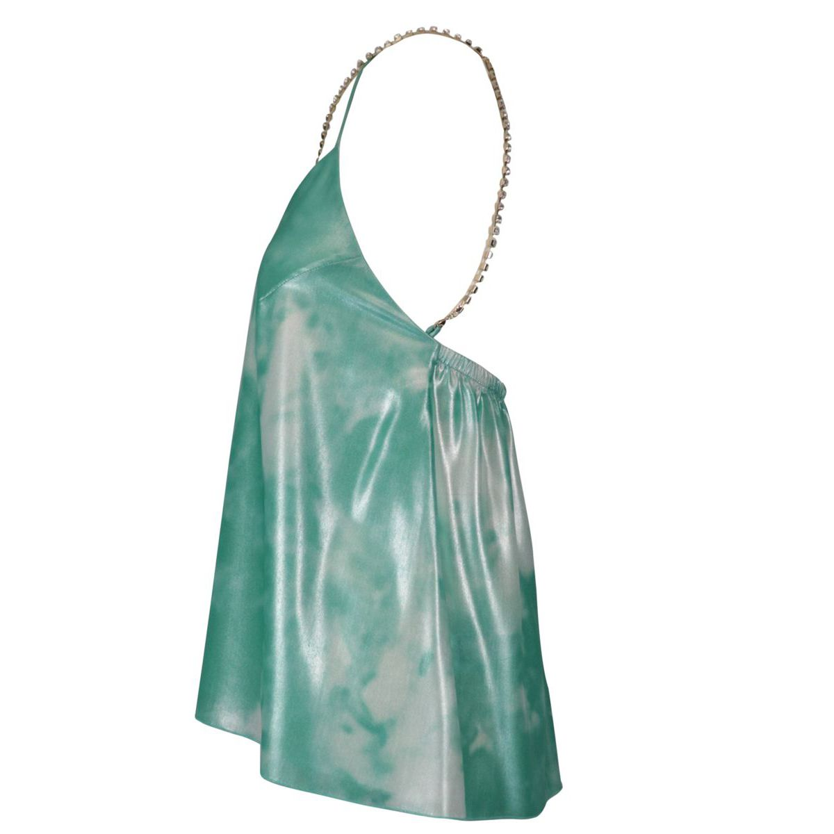 Shiny fabric top with rhinestone chain Green water Patrizia Pepe