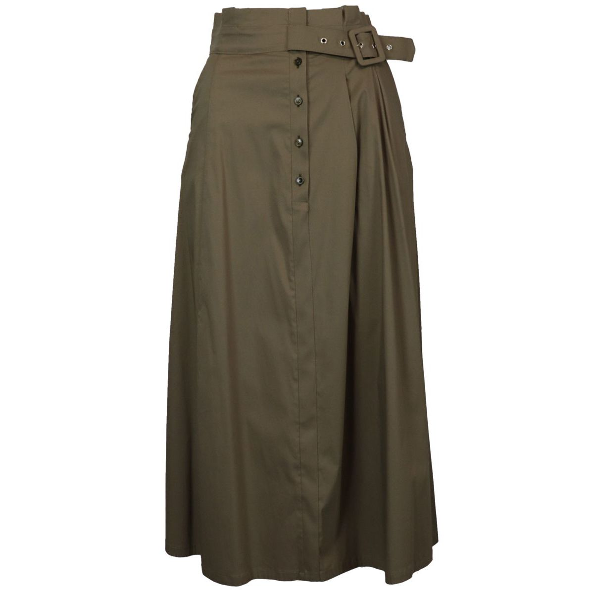 Midì wide skirt with high waist with belt and buttons Military Patrizia Pepe