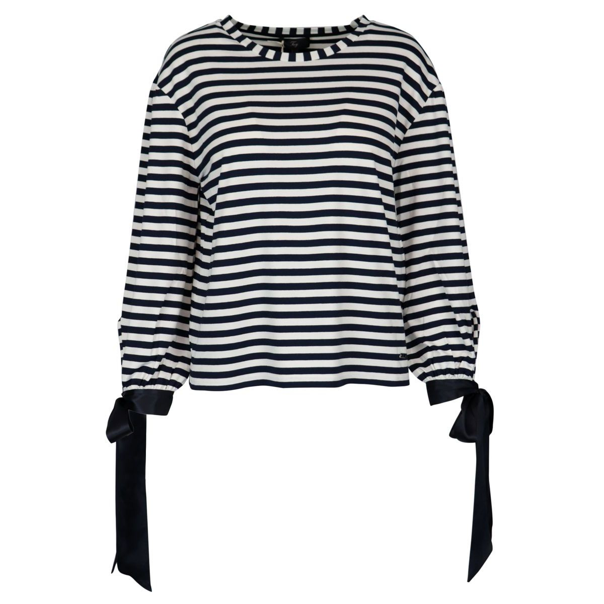 Viscose sweater with striped pattern and satin bows White / blue Fay