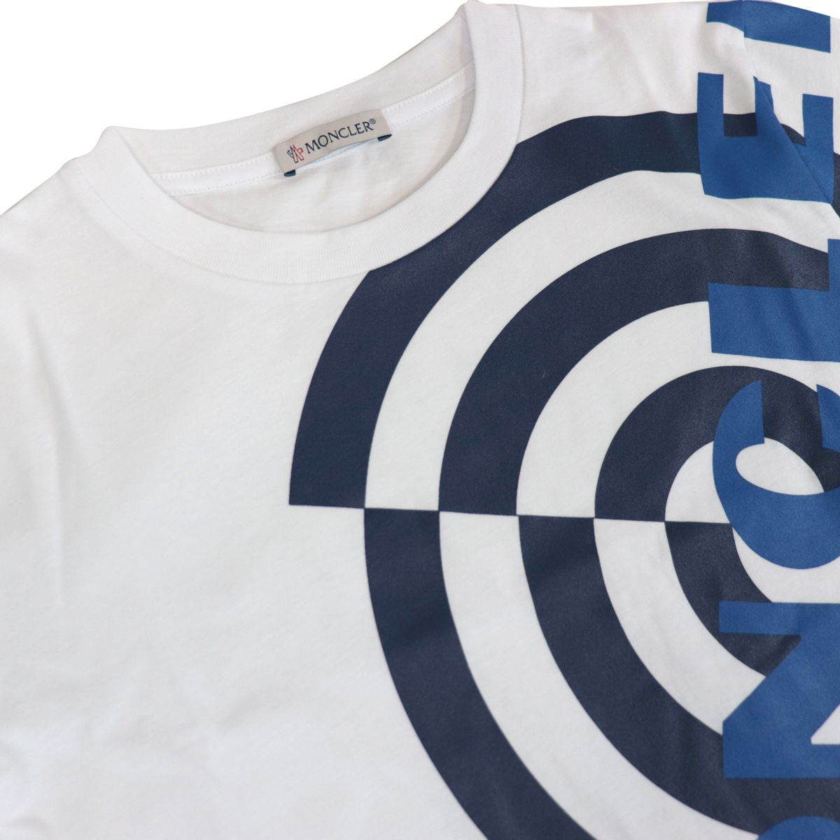 Cotton T-shirt with contrasting front logo print White Moncler