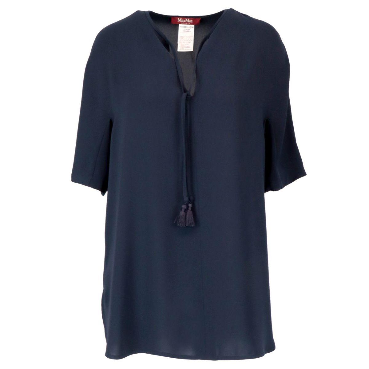 Short-sleeved blouse in triacetate Blue MAX MARA STUDIO