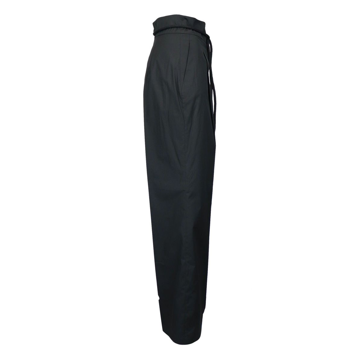 Opal trousers in cotton poplin with high waist and wide bottom Black MAX MARA STUDIO