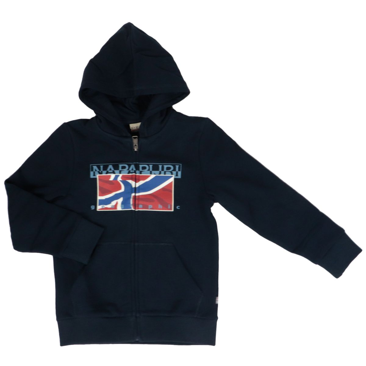 Cotton sweatshirt with zip hood and print Blue NAPAPIJRI