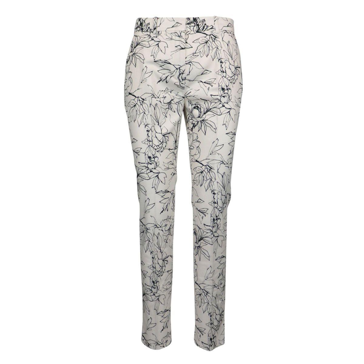 Perim cigarette trousers in patterned stretch cotton poplin White black MAX MARA STUDIO