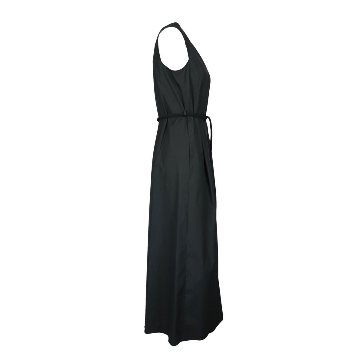 Sleeveless Bruna dress in cotton poplin with cordon waist belt Black MAX MARA STUDIO