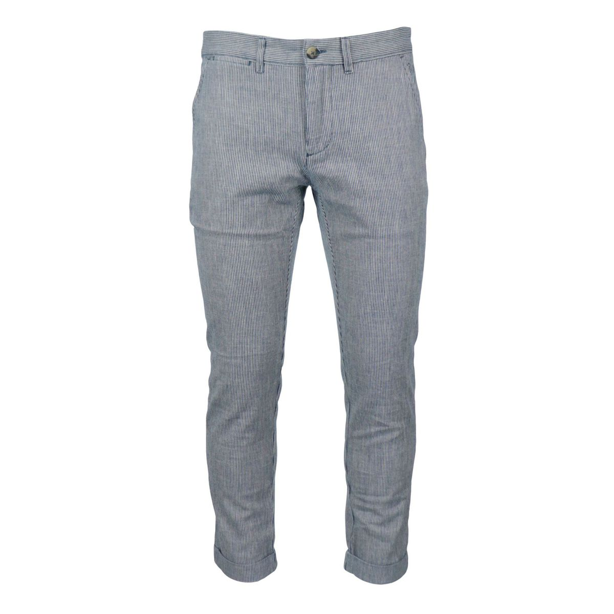 Linen and cotton trousers with america pocket Blue / white Jeckerson