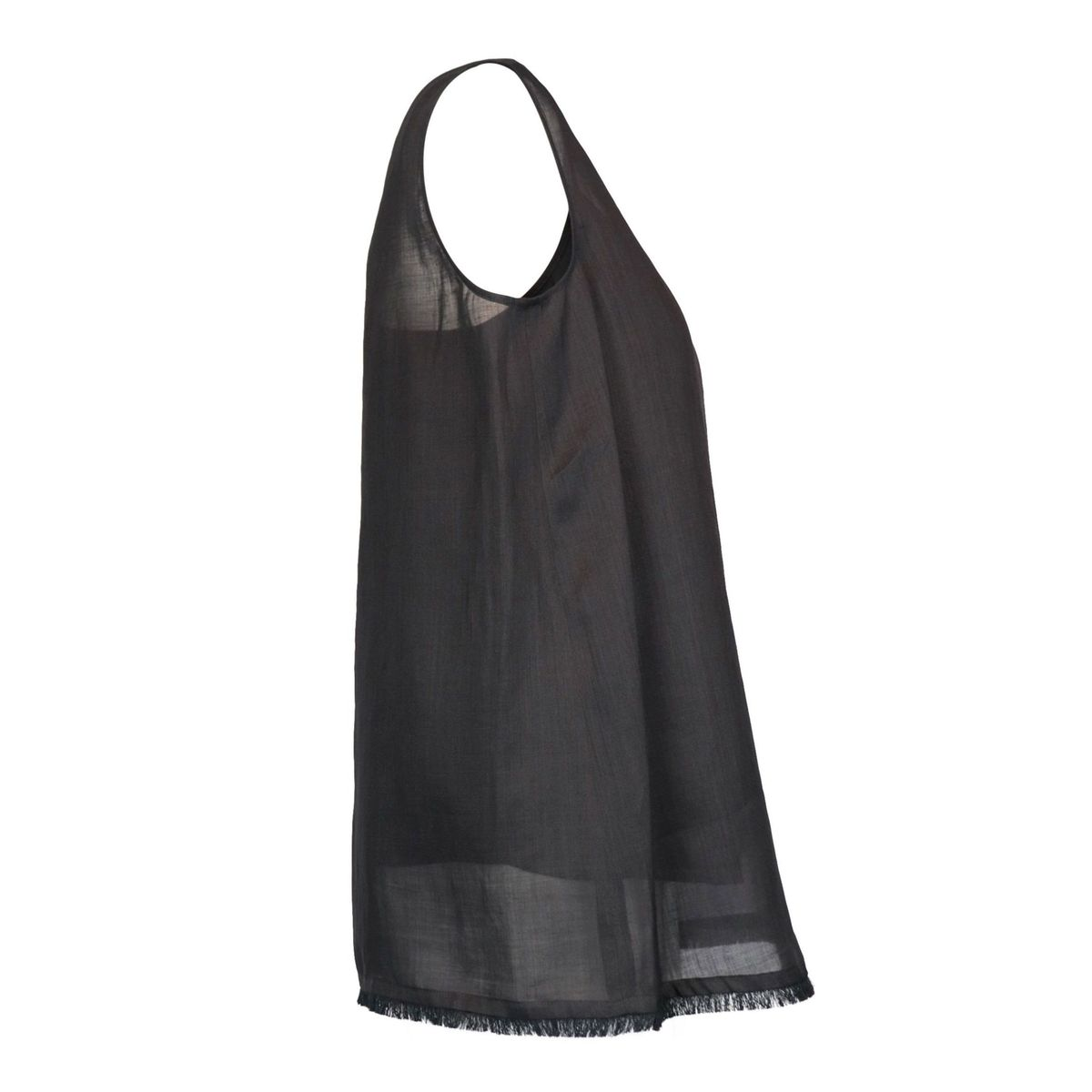 Robin top in silk shantung with tank top and frayed edge Black MAX MARA STUDIO