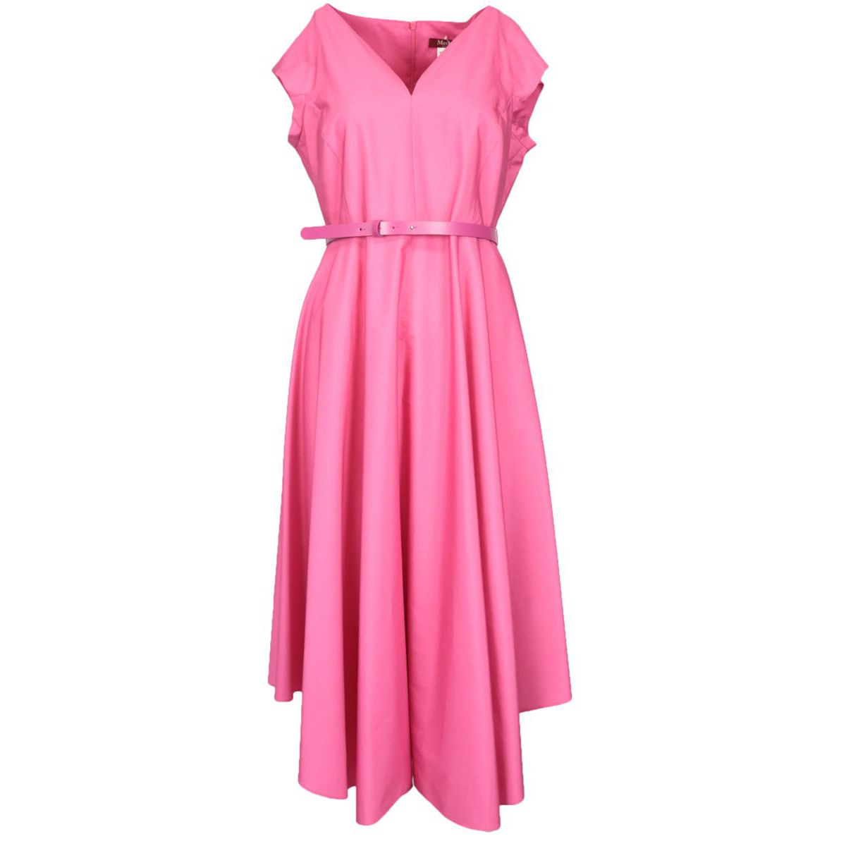 Primo cotton dress with belt and V-neck Fuchsia MAX MARA STUDIO