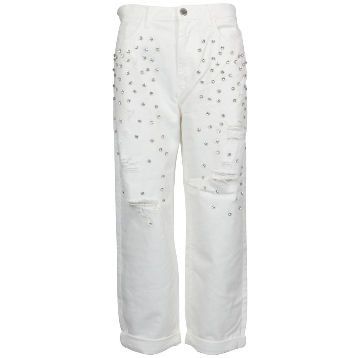 Maddie 7 jeans in cotton with tears and rhinestones White Pinko