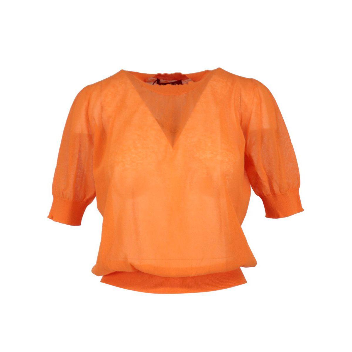 Arca cotton blend sweater with round neckline Orange MAX MARA STUDIO