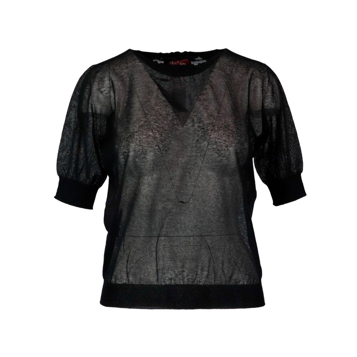 Arca cotton blend sweater with round neckline Black MAX MARA STUDIO