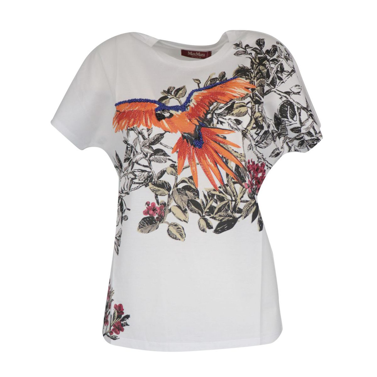 Cotton T-shirt with print and multicolor beads White MAX MARA STUDIO