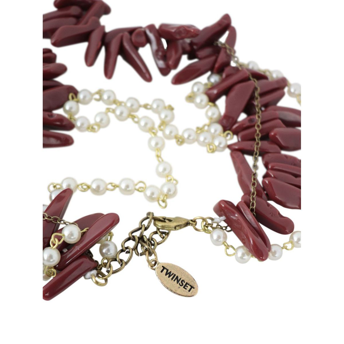 Collana rosario multifilo con perle e croce pendente Corallo Twin-Set