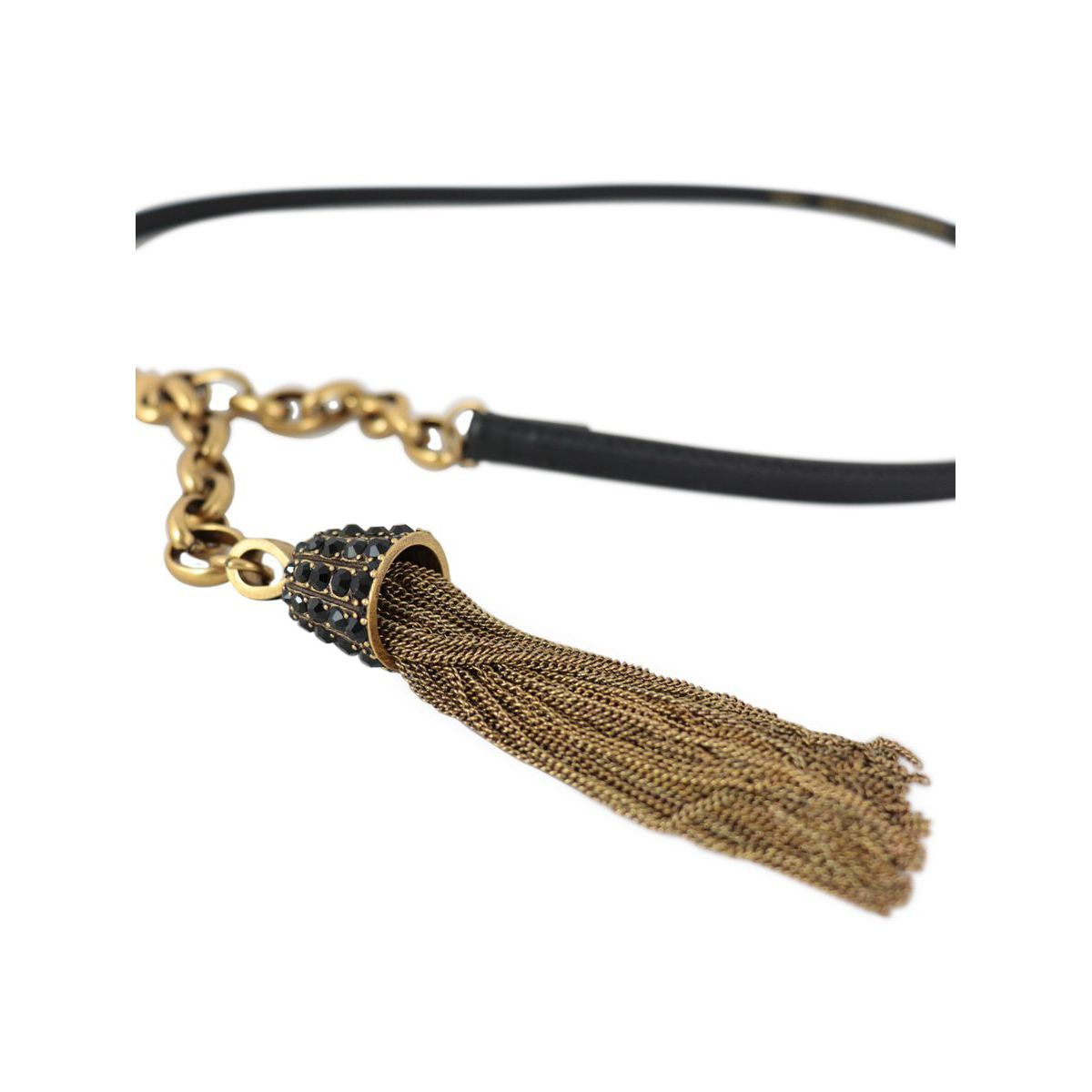 Leather belt with chain and pendant tassel Black Twin-Set