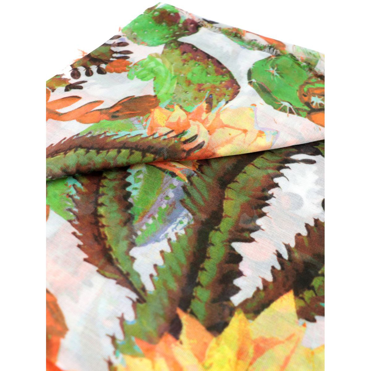 Striped and flowers patterned modal and silk scarf Orange Altea