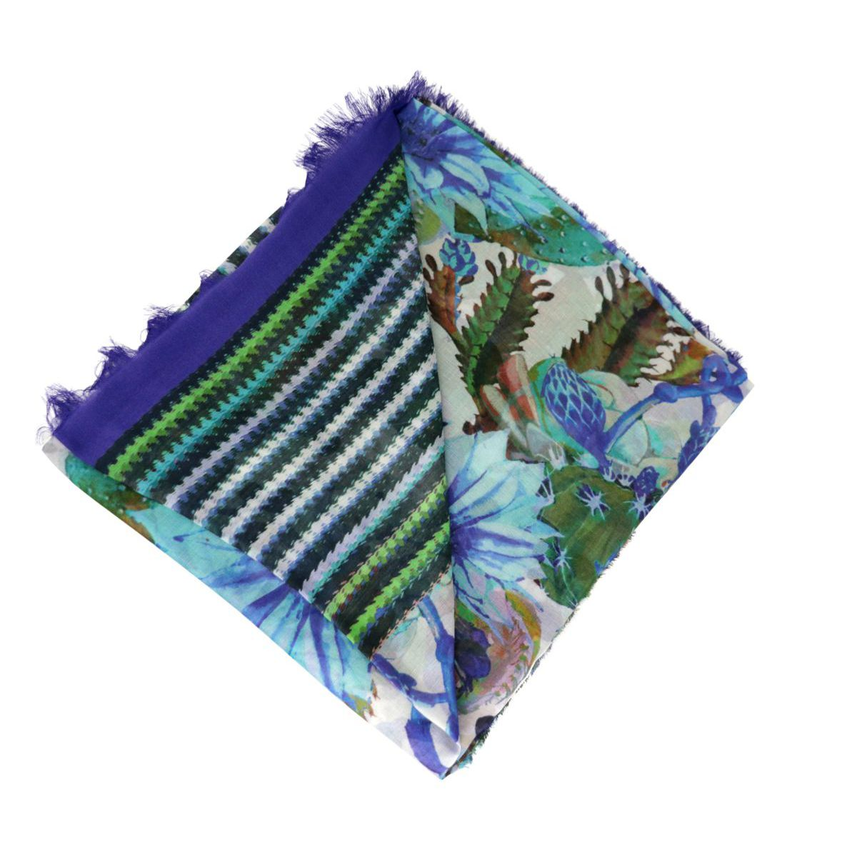 Striped and flowers patterned modal and silk scarf Royal Altea