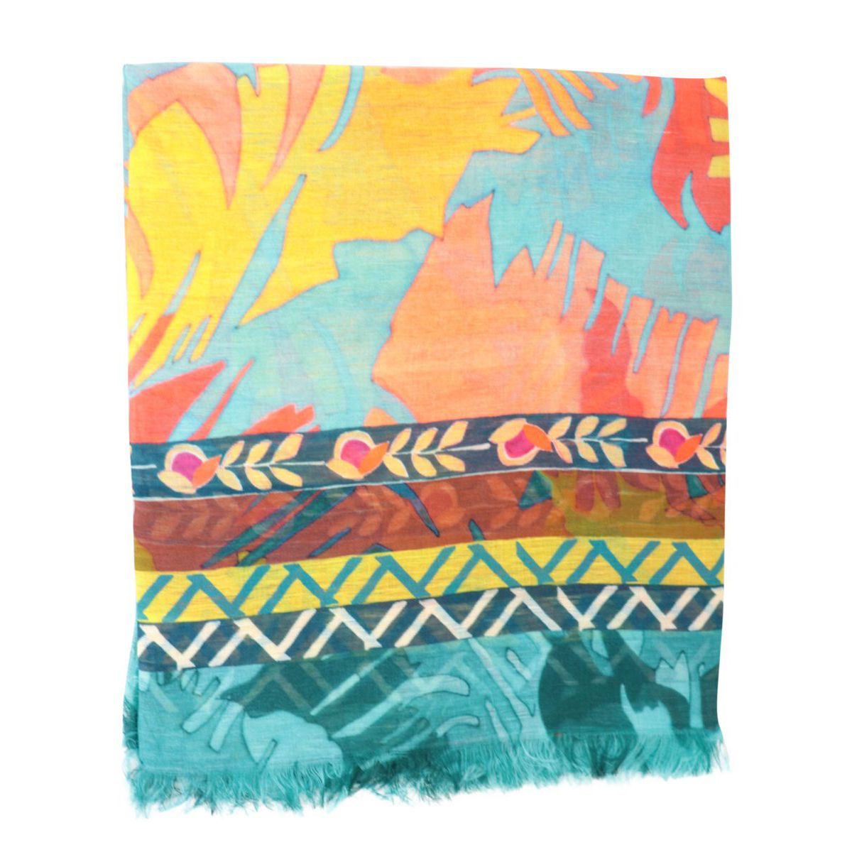 Patterned linen and modal scarf Turquoise Altea