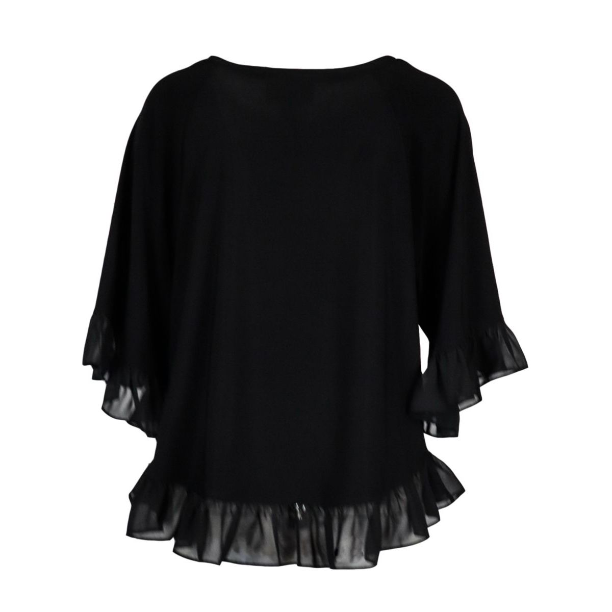 Polyester sweater with three-quarter sleeves and ruffles Black Joseph Ribkoff