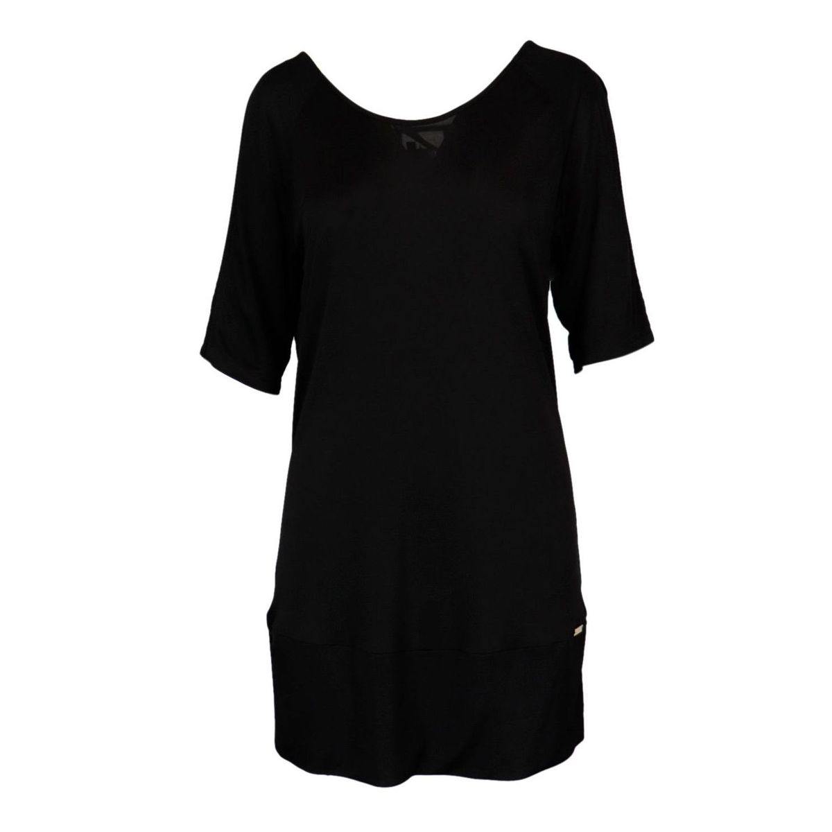Appia short dress in viscose with cross back neckline Black Nenette