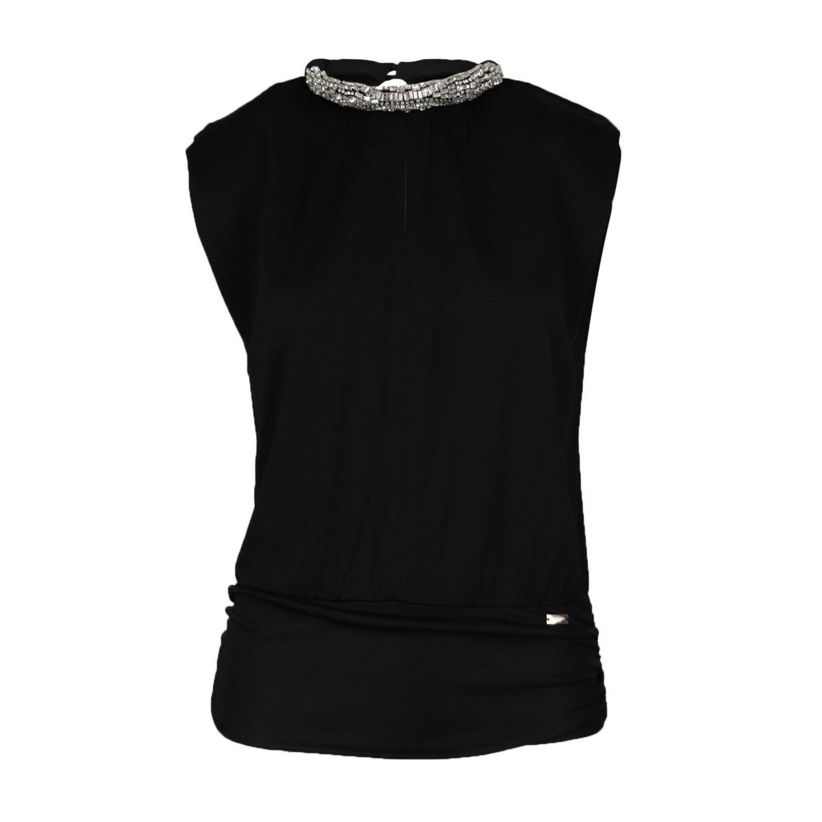 Filippa blouse in fluid jersey with rhinestone application on the neckline Black Nenette