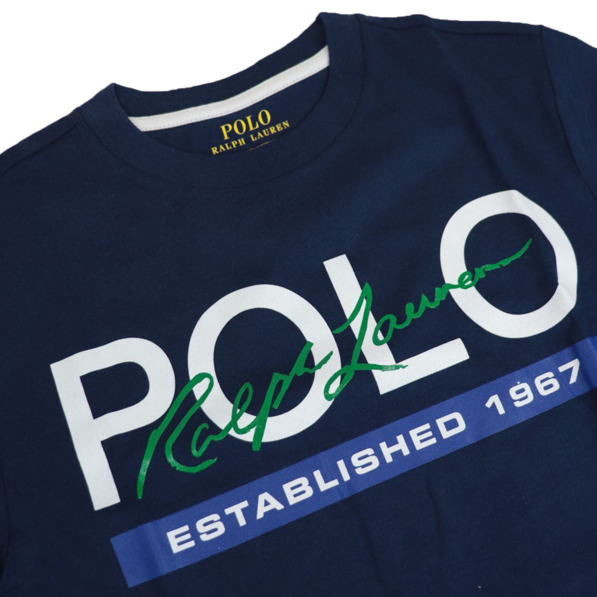 Crew neck T-shirt with contrasting logo print Navy Polo Ralph Lauren
