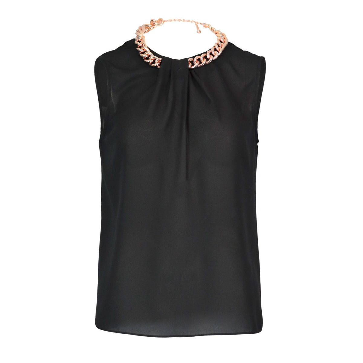 Folgore georgette tank top with chain Black Nenette
