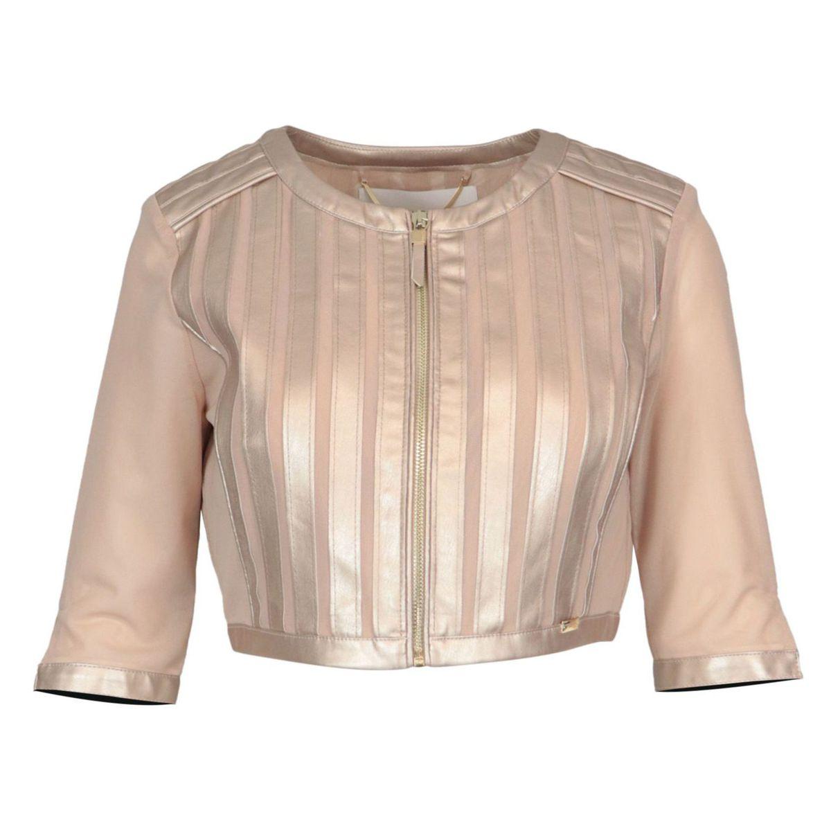 Short double-layered velor jacket with imitation leather inserts Face powder Nenette
