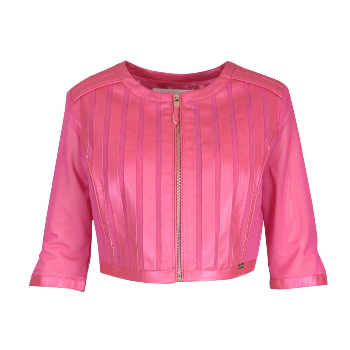 Short double-layered velor jacket with imitation leather inserts Fuchsia Nenette
