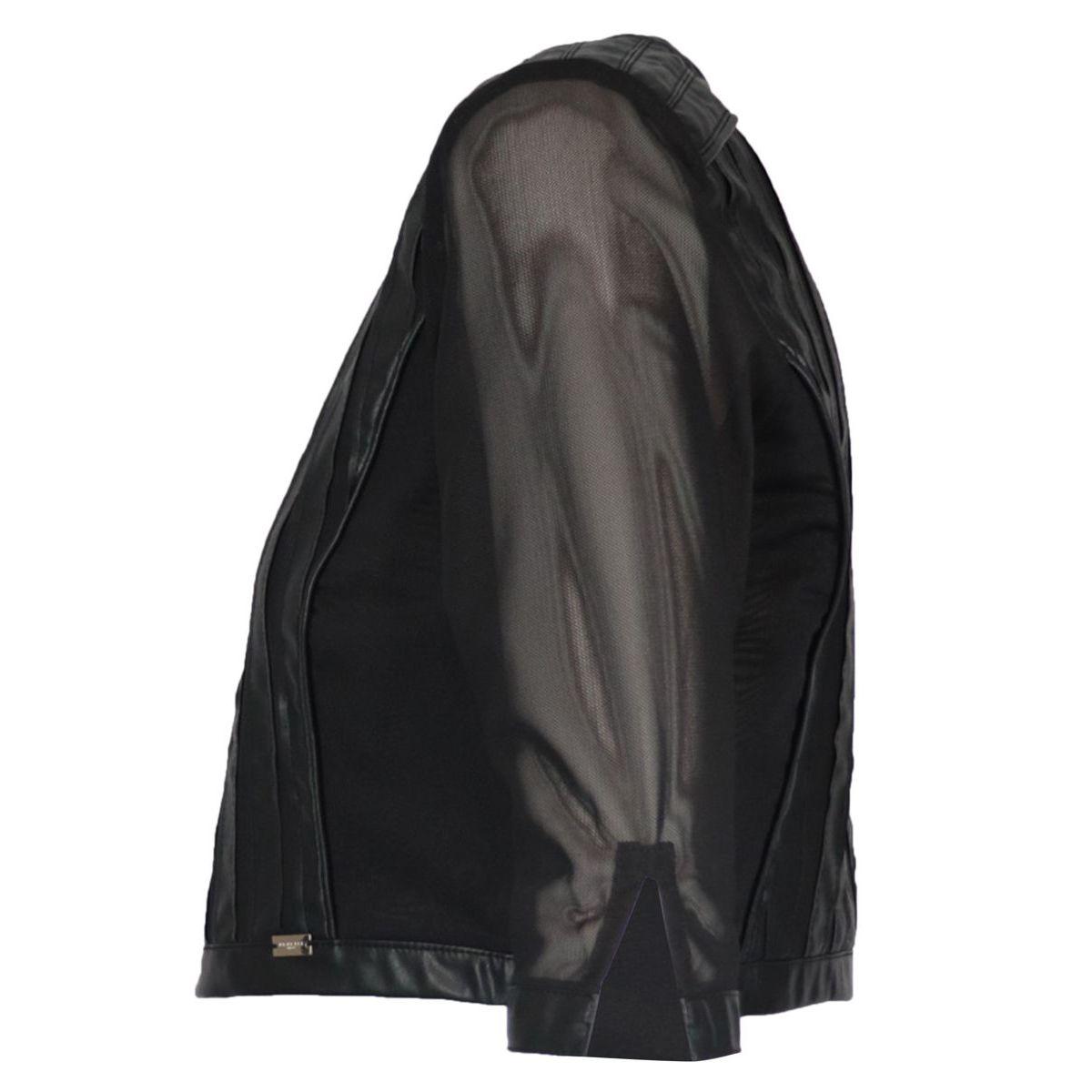 Short double-layered velor jacket with imitation leather inserts Black Nenette