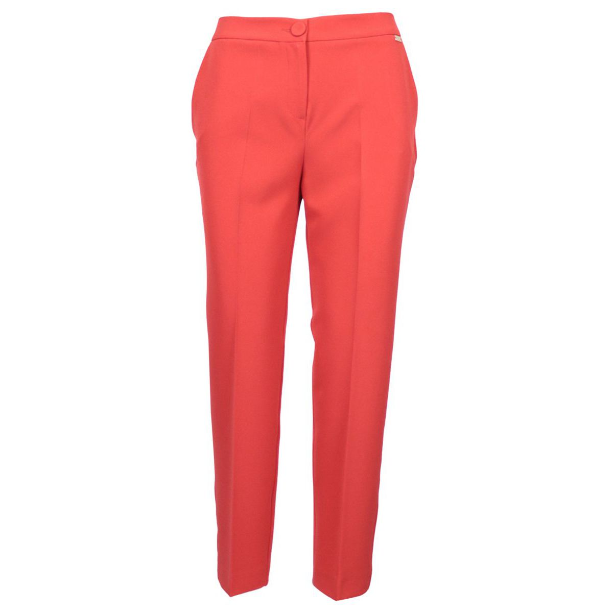 Erika crepe trousers with ironed crease and welt pockets Coral Nenette