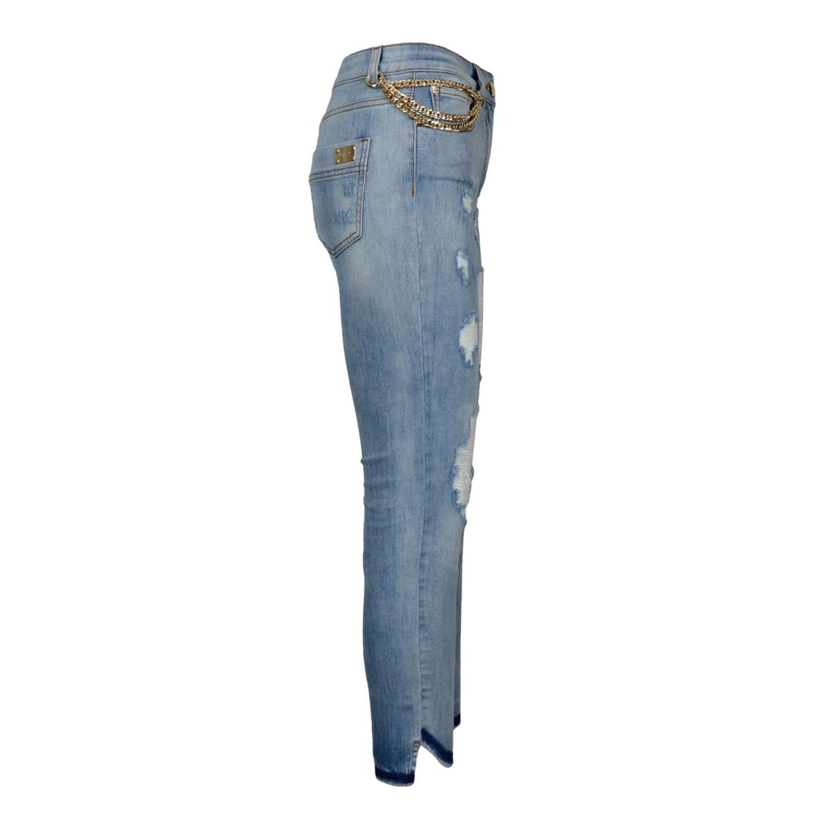 Skinny jeans in light denim with tears and golden chain Denim clarified Nenette