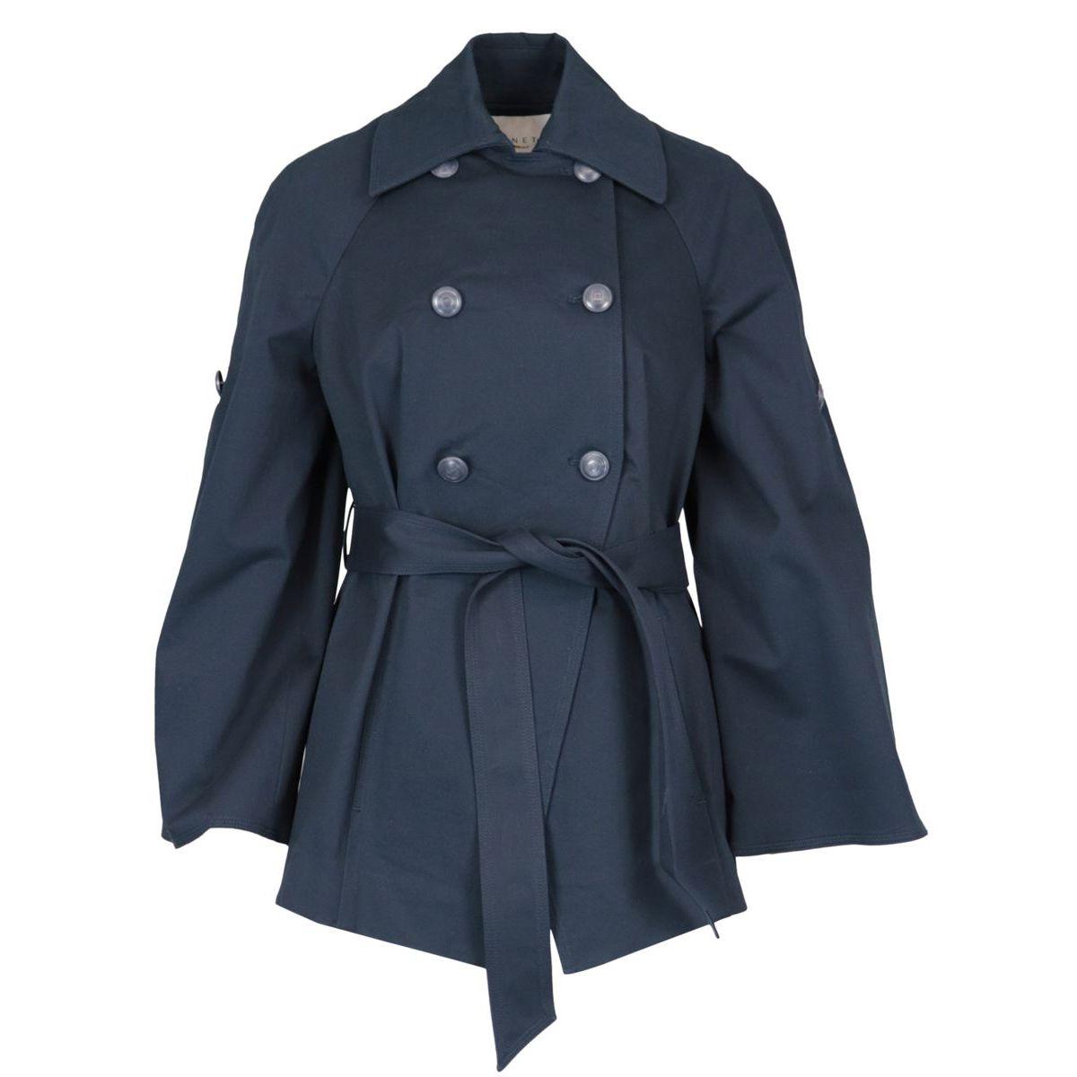 Venier double breasted gabardine jacket with belt Navy Nenette