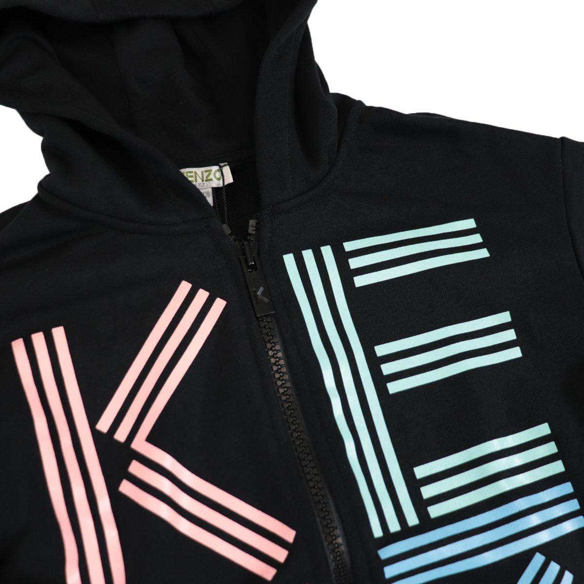Cotton sweatshirt with hood and multicolor logo print Black Kenzo