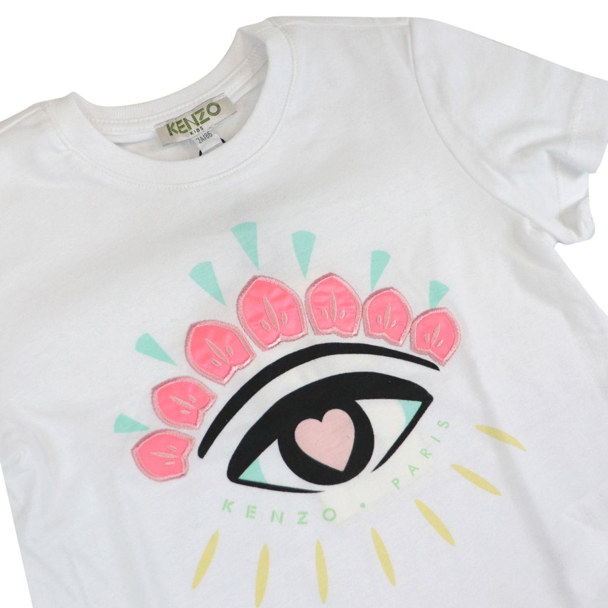Cotton T-shirt with contrasting Eye logo print White Kenzo