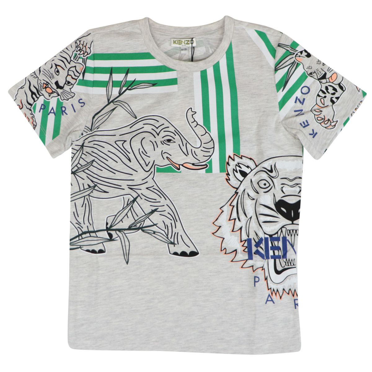 Crew neck cotton T-shirt with contrasting prints and logo Grey Kenzo