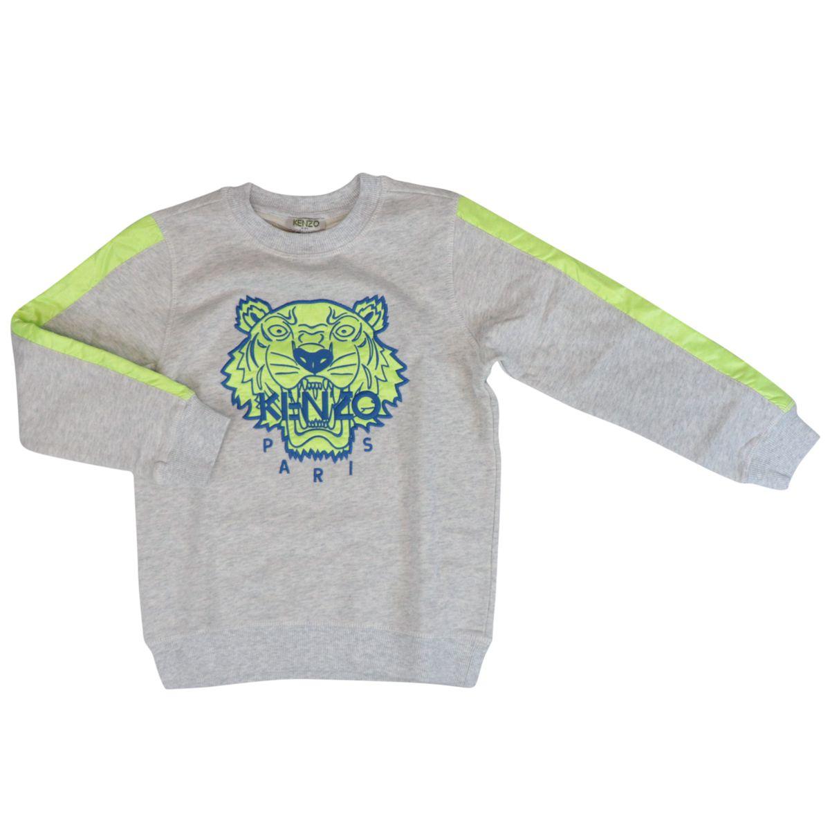 Crewneck cotton sweatshirt with multicolor Tiger embroidery Grey Kenzo