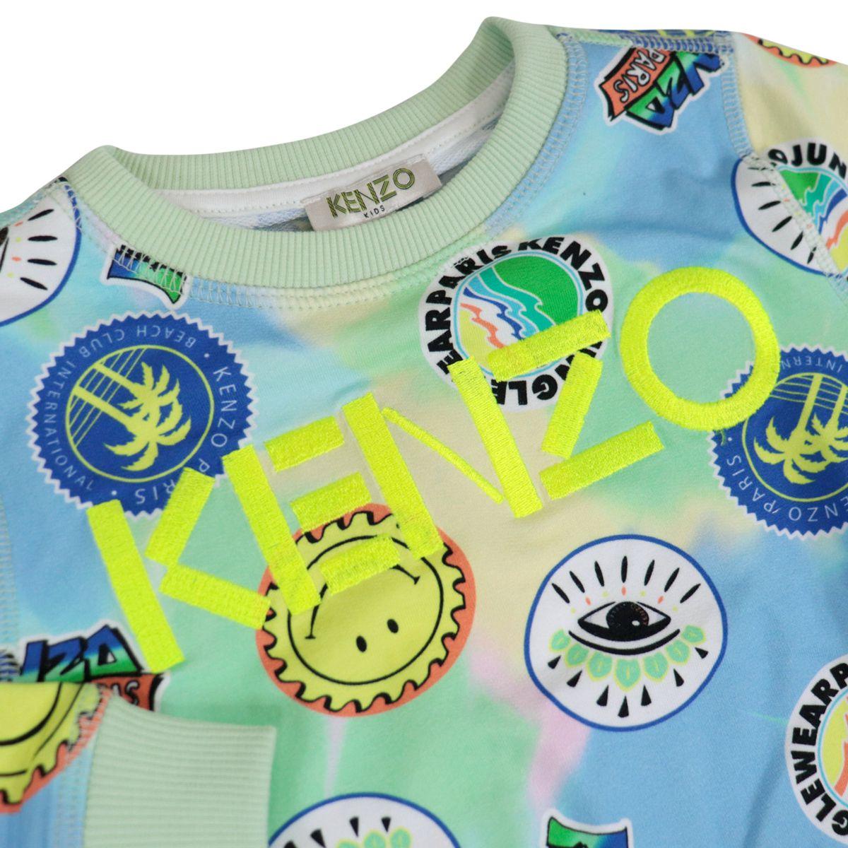 Crew-neck cotton sweatshirt with all-over multicolor prints Yellow Kenzo