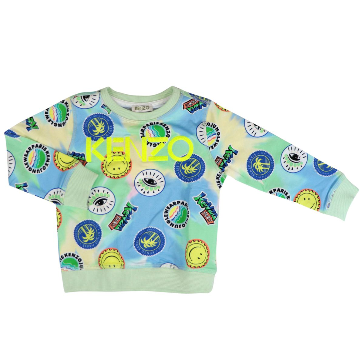 Crew-neck cotton sweatshirt with all-over multicolor prints Yellow Kenzo