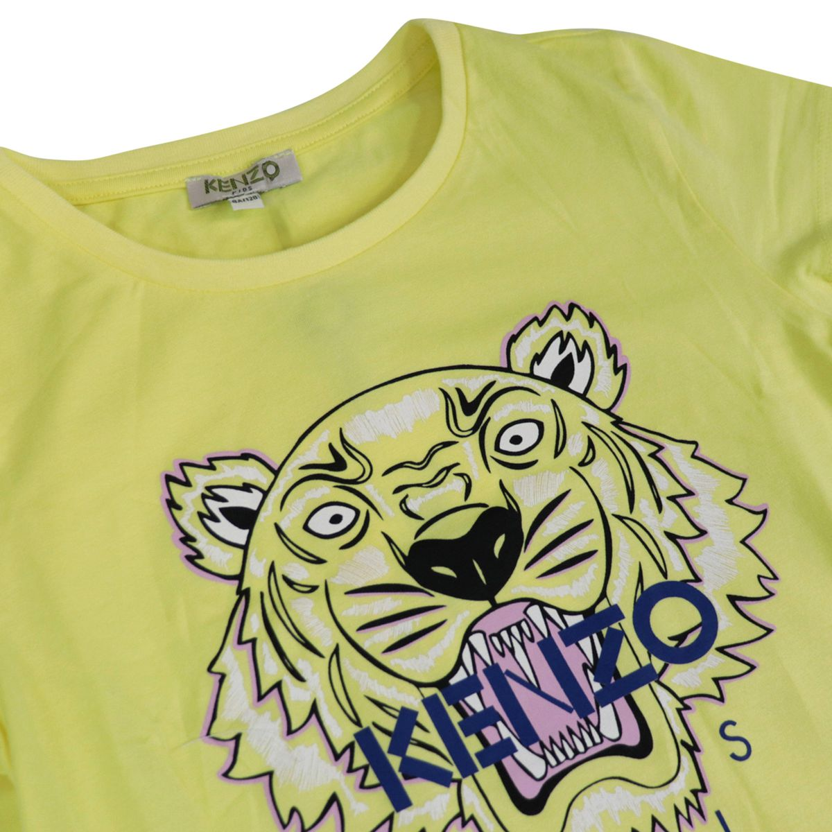 Cotton t-shirt with Tiger logo and curved hem Lemon Kenzo