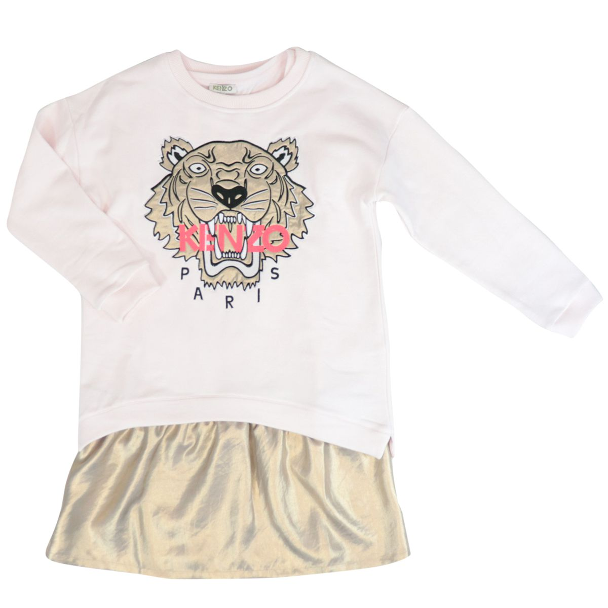 Cotton dress with Tiger logo print and laminated bottom Pink Kenzo