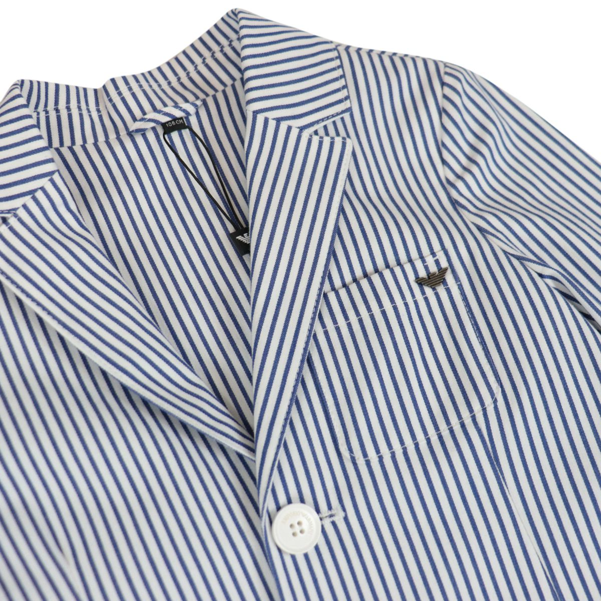 Two-breasted two-button cotton blazer with pocket White / blue line Emporio Armani