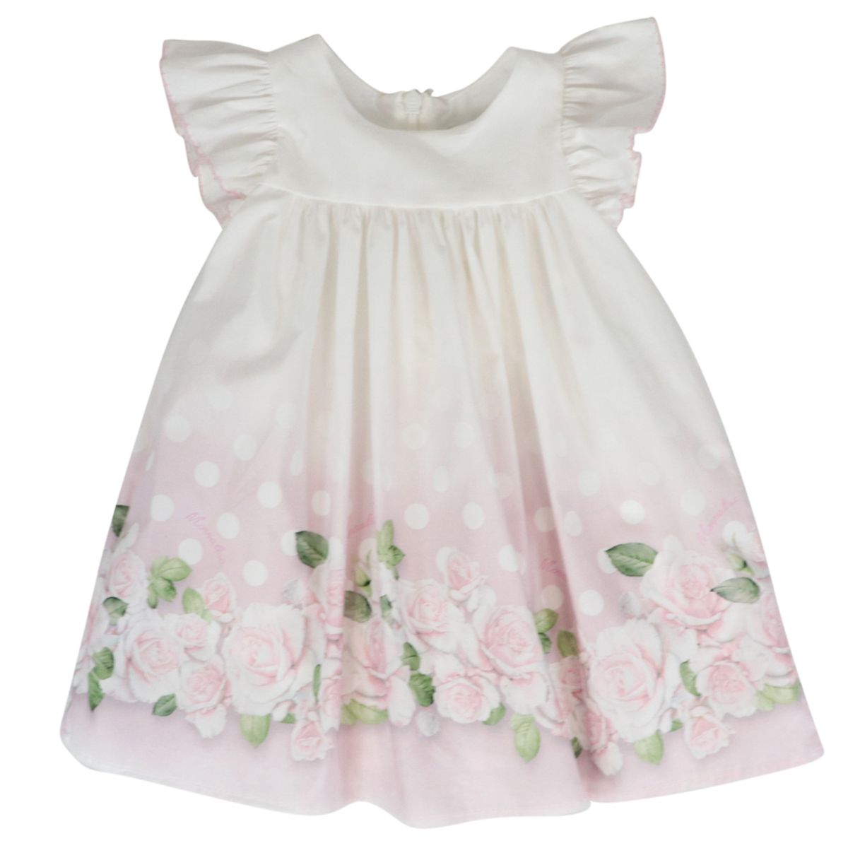 Cotton dress with flounces and rose print Cream Monnalisa