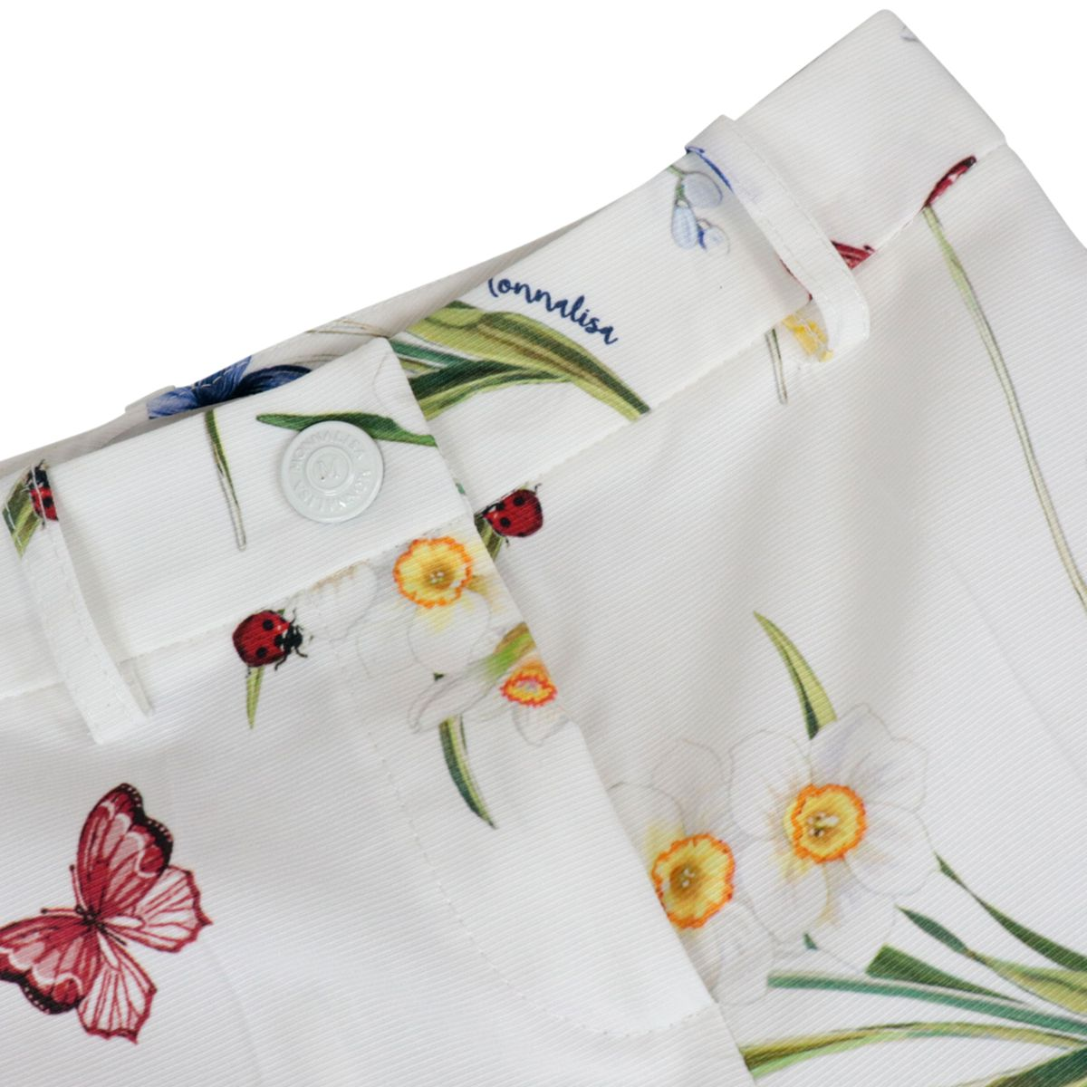 Cotton trousers with butterfly and flower print White Monnalisa