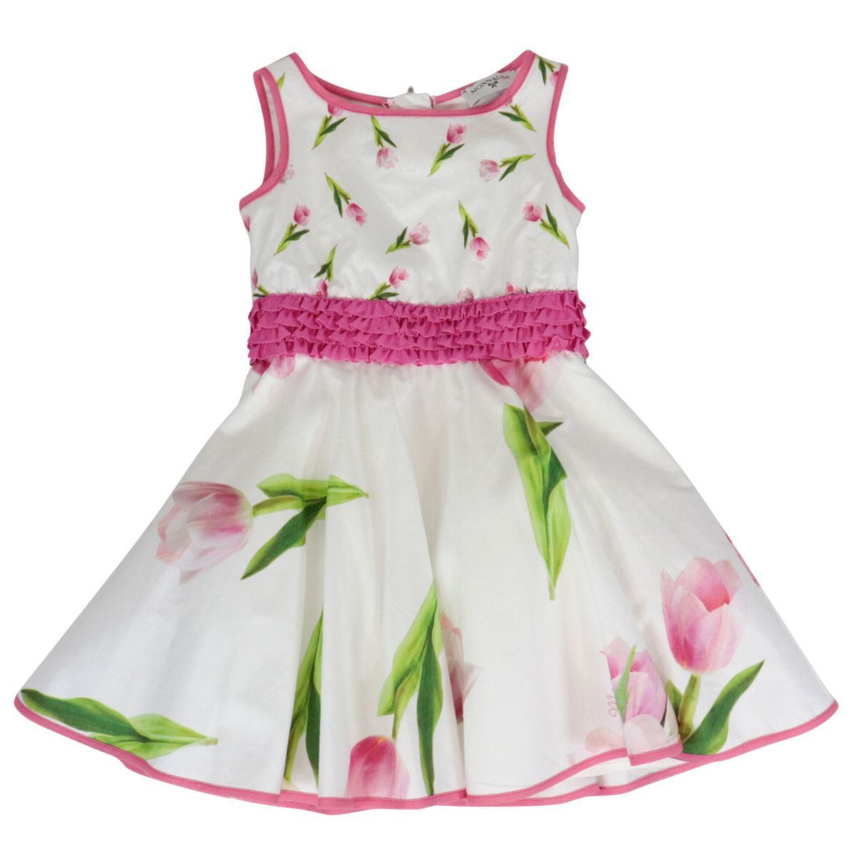 Sleeveless cotton dress with tulip print White Monnalisa