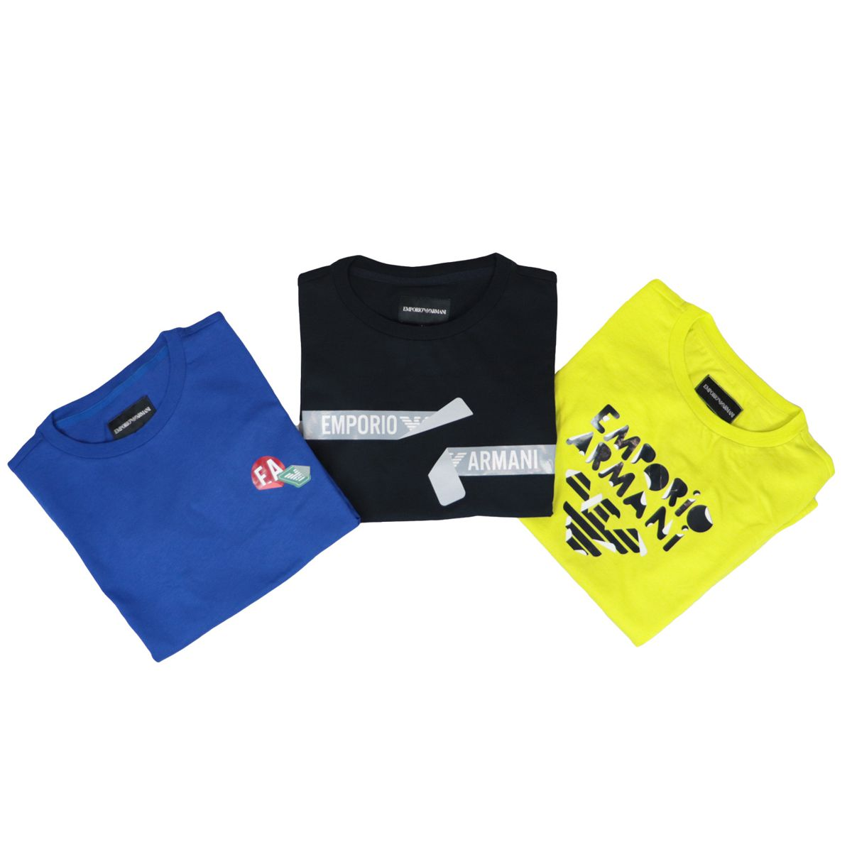 Set of cotton t-shirts with contrasting prints Yellow blue black Emporio Armani