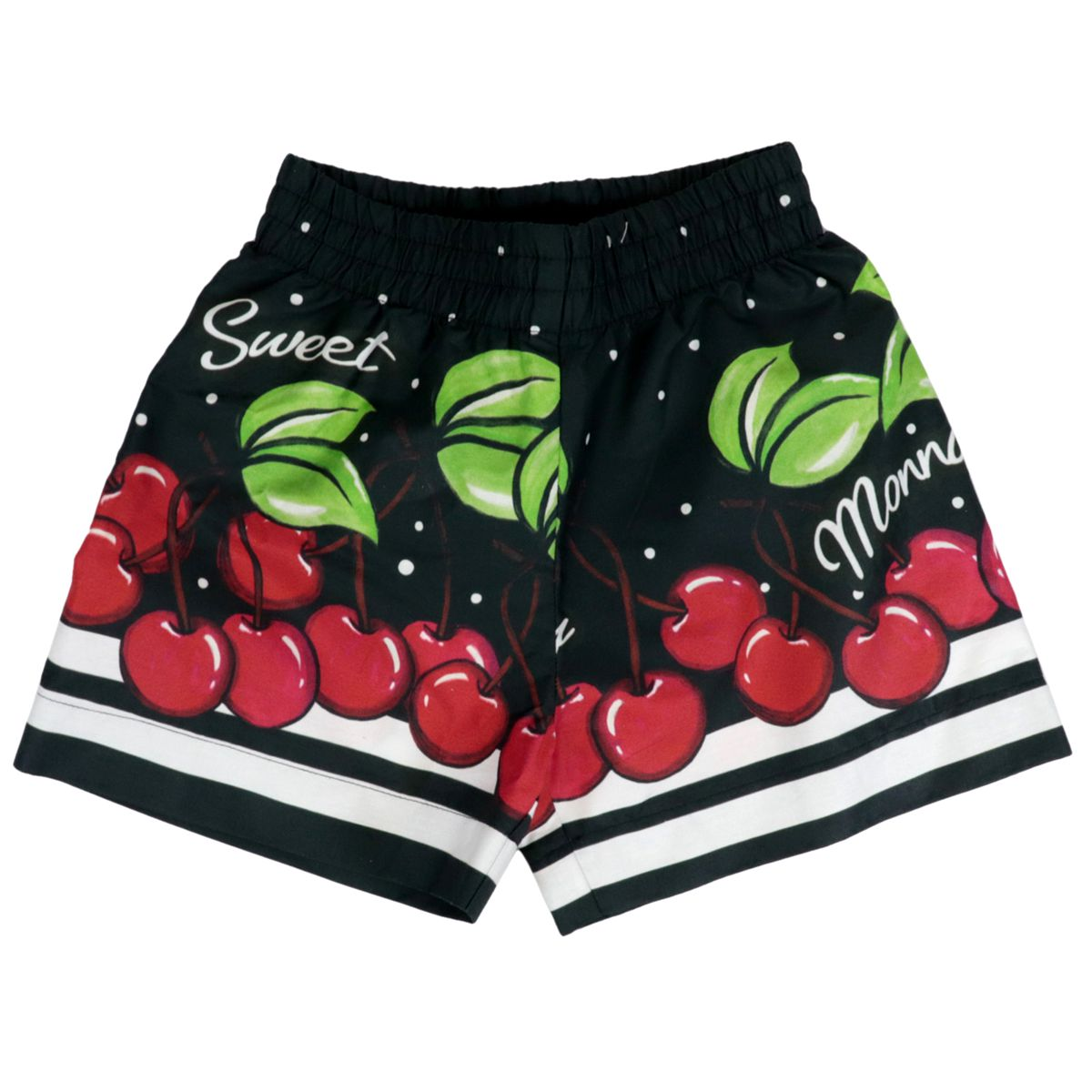 Cotton shorts with cherry print Black Monnalisa