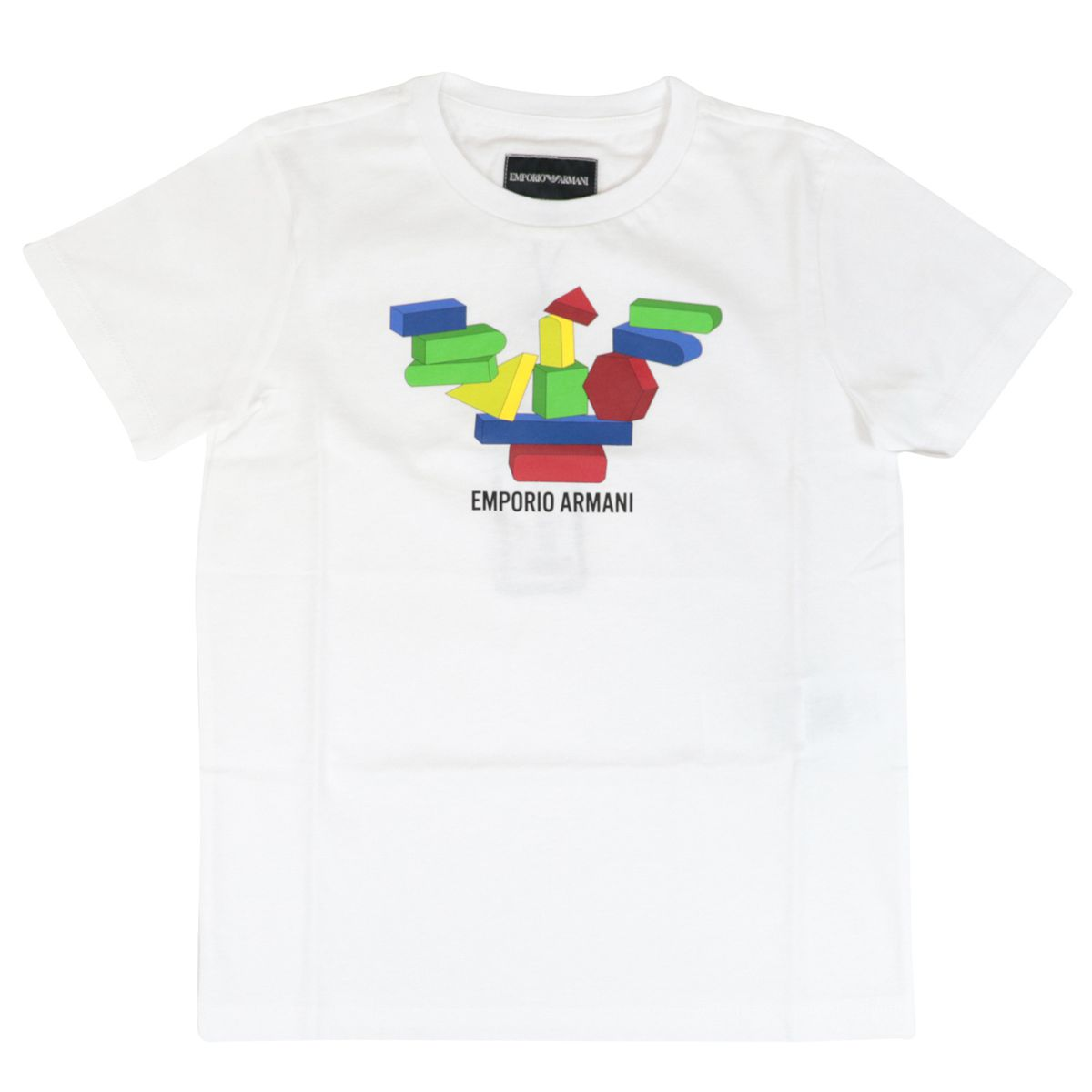 Cotton T-shirt with multicolor print and logo White Emporio Armani