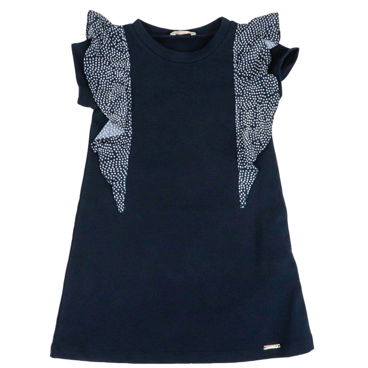 Cotton fleece dress with polka dot ruffles Night blue Liu Jo