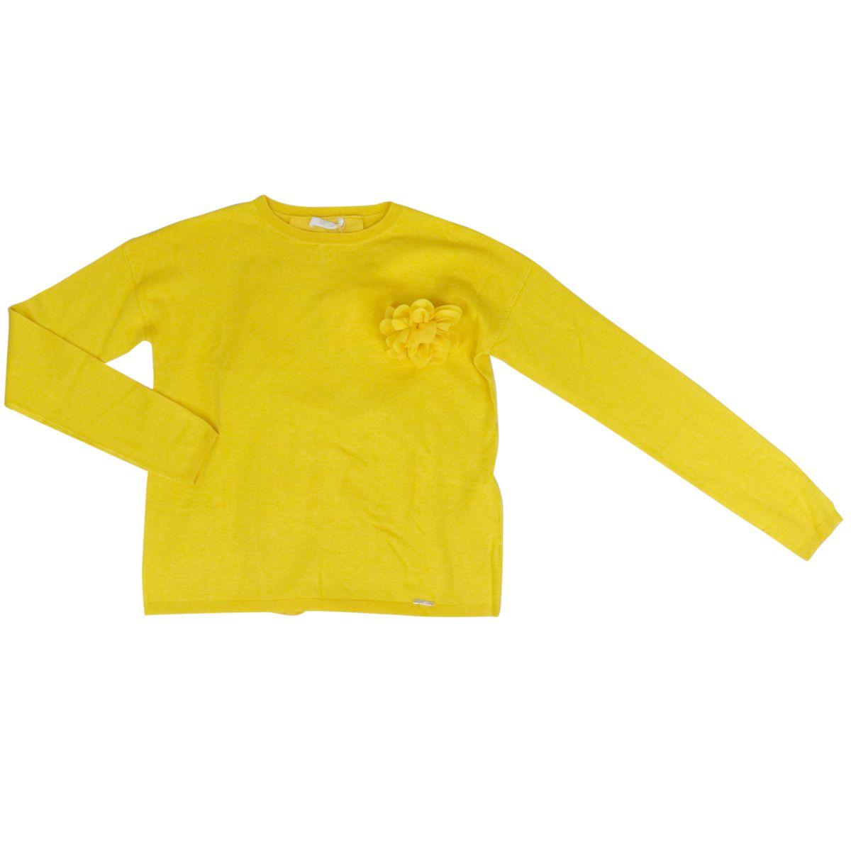 Viscose sweater with tone-on-tone flower brooch Yellow Liu Jo