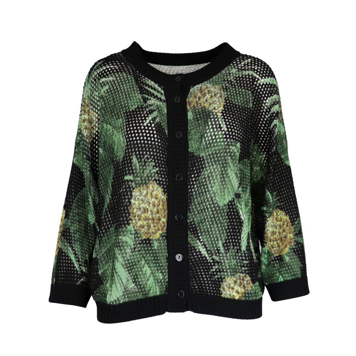Sweater-cardigan in printed net stitch with contrasting finishes Black Twin-Set